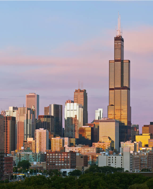 the Sears Tower, tallest building in the world from 1974 to 1998