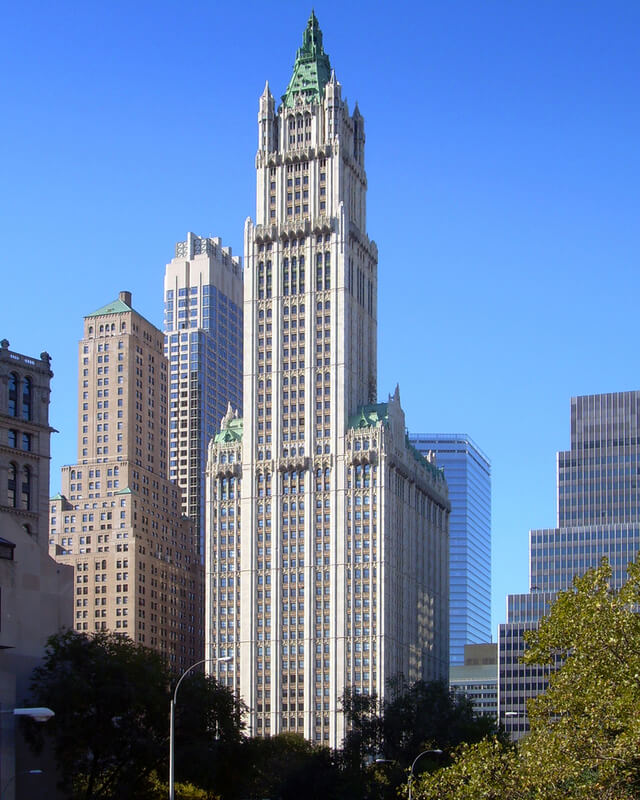 the Woolworth Building, tallest building in the world from 1913 to 1930
