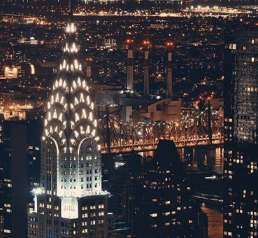 The Chrysler Building illuminated at night
