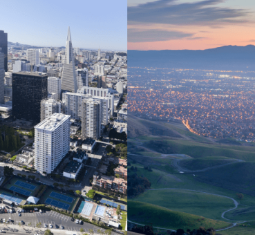 composite image of san francisco office buildings to the left and sprawling silicon valley in the bay area to the right
