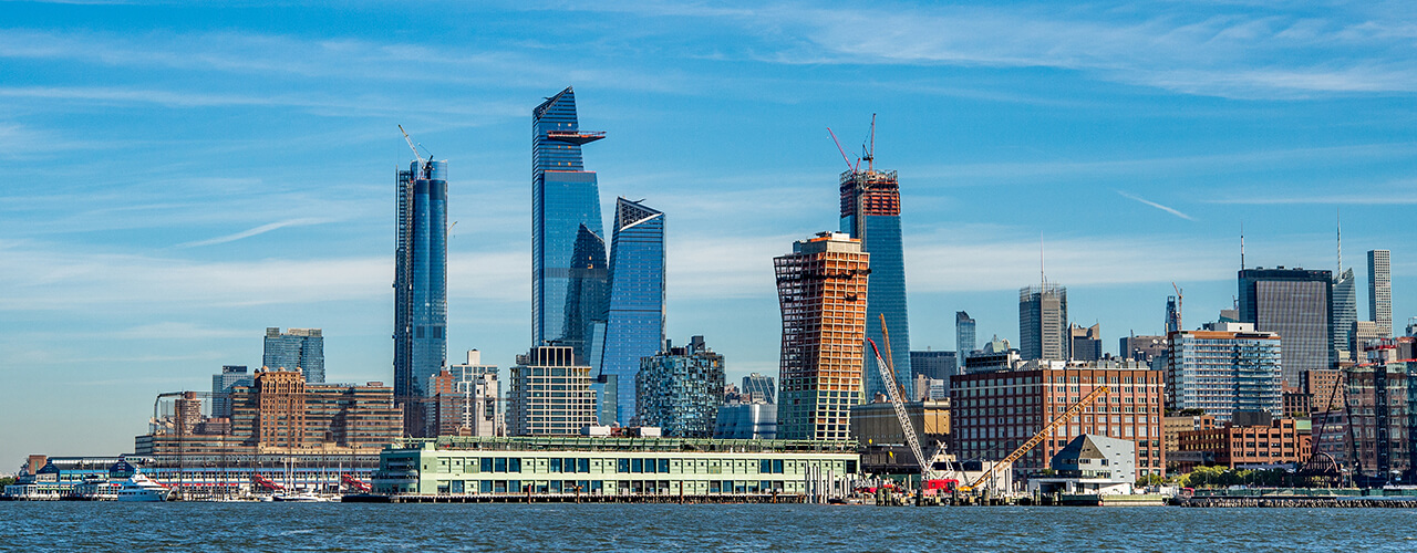 The Hudson Yards development seen from New Jersey