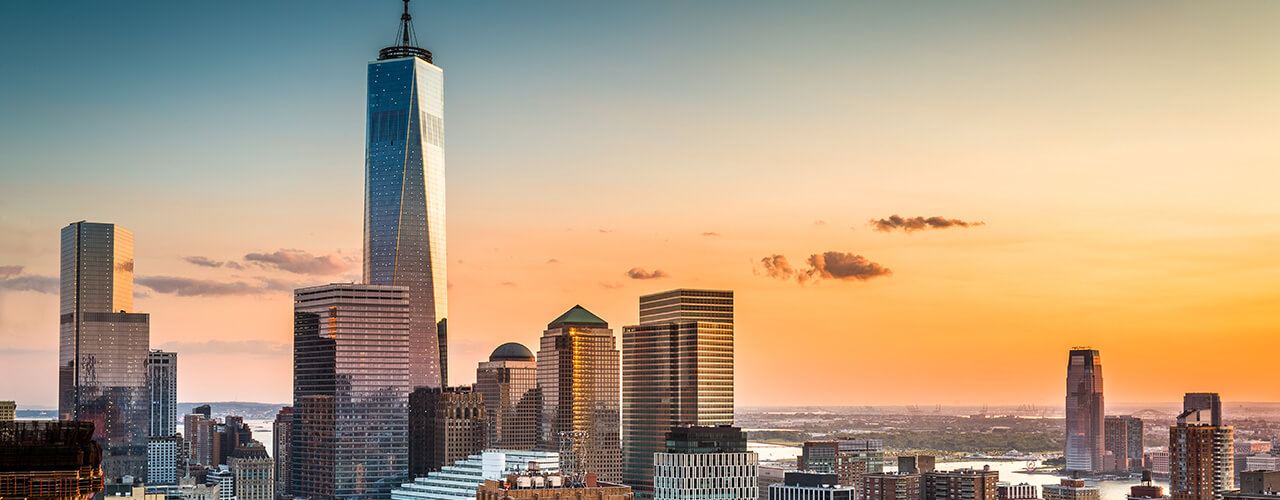 View over Lower Manhattan and One World Trade Center
