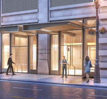 Rendering of the exterior canopy updates at Brookfield's 24 East Washington project