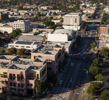 Aerial view of office buildings in Pomona, CA