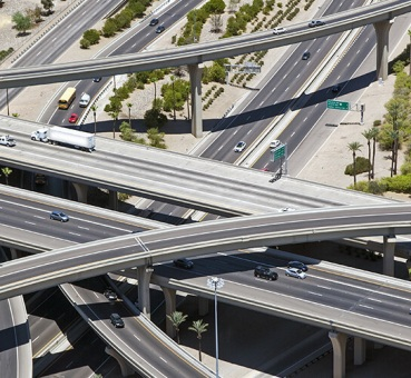 Aerial view of the Stack interchange in Phoenix