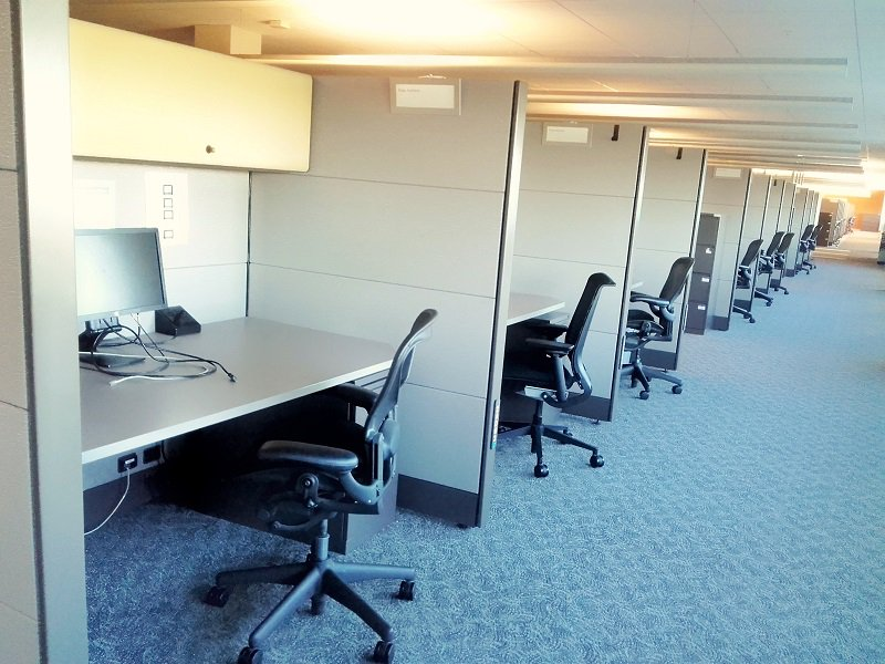 Open office space delimitated by walls