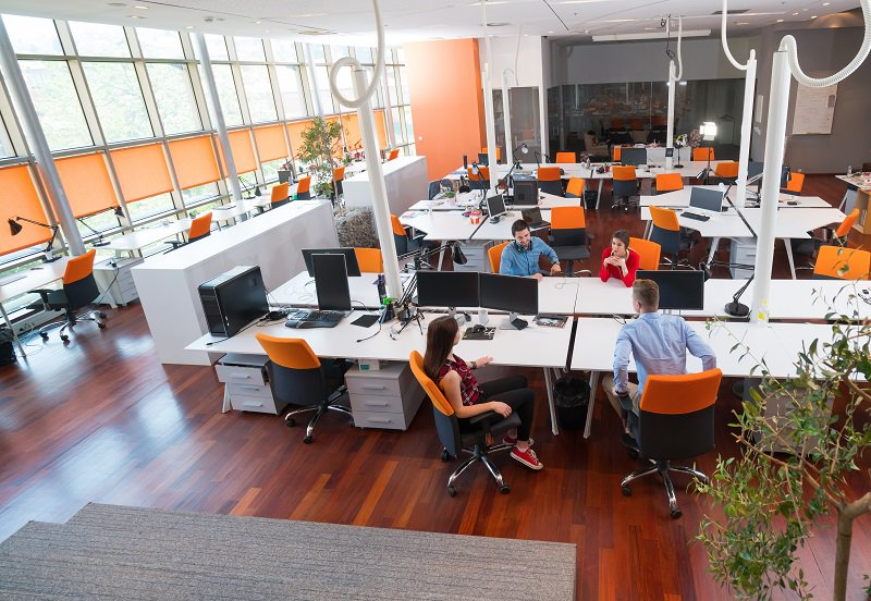 Desk layout, an office space design that encourages teamwork and collaboration